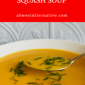 butternut squash soup in a white bowl.