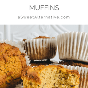 Muffins on a plate against a white background.