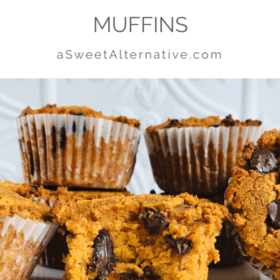 Pinterest image of muffins with grey text over a white background.