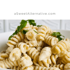 Pinterest image of a bowl of pasta.