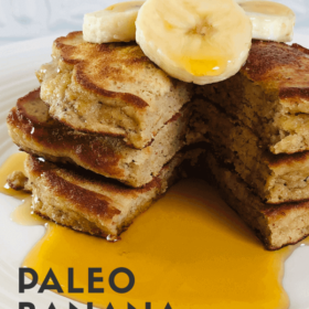 Pinterest image of pancakes with sliced bananas on top.