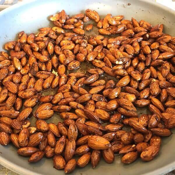 Almonds in a frying pan.