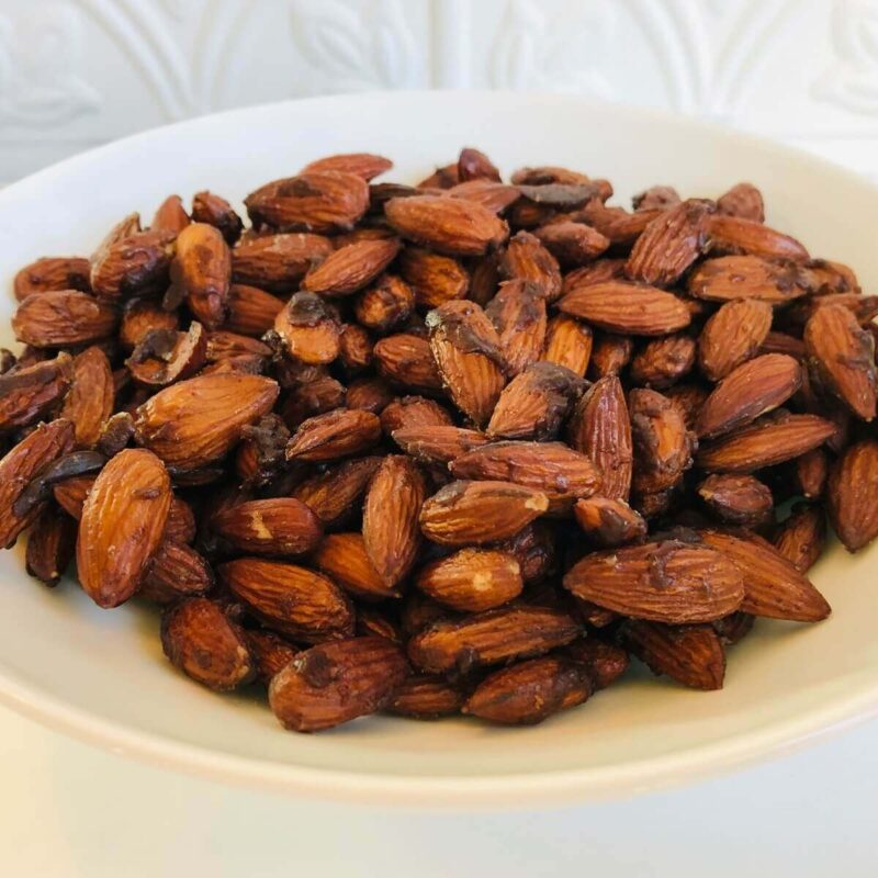 A bowl of candied almonds.