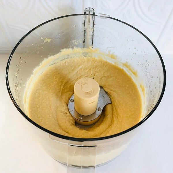 Chickpeas blended in a food processor.