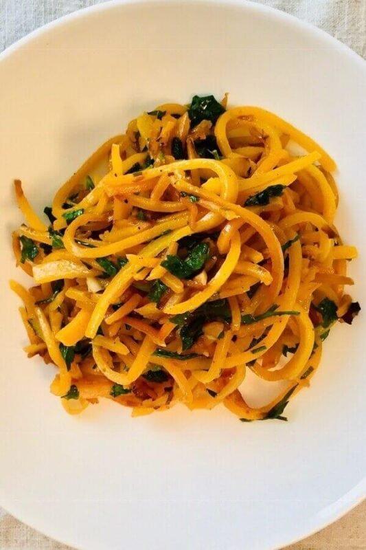 Butternut squash noodles in a bowl.