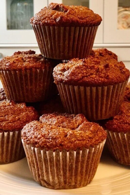 Cinnamon muffins on a plate.