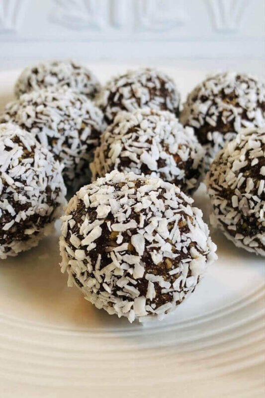 Coconut balls on a plate.