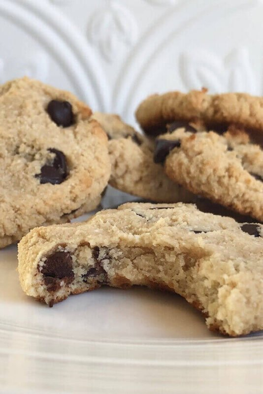 Chocolate chip cookies arranged on a plate.
