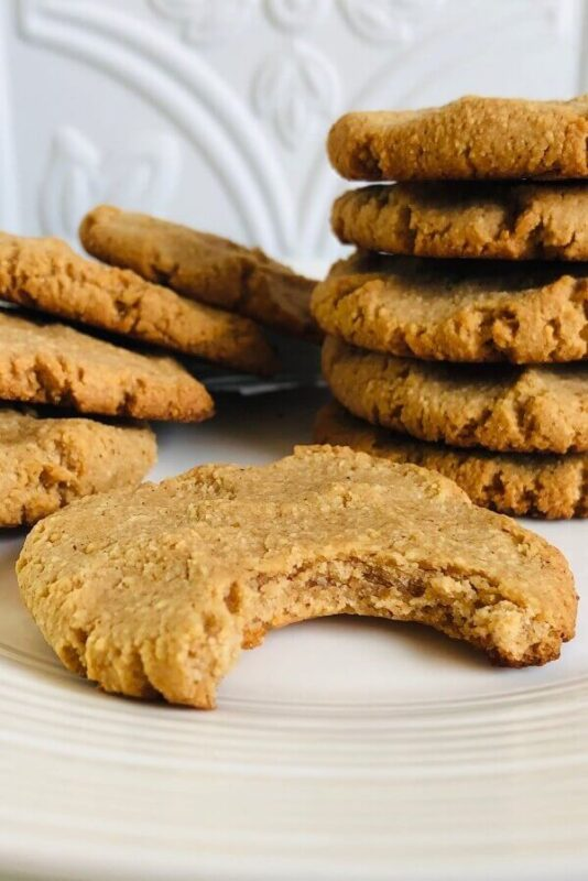 Peanut butter cookies arranged on a plate.
