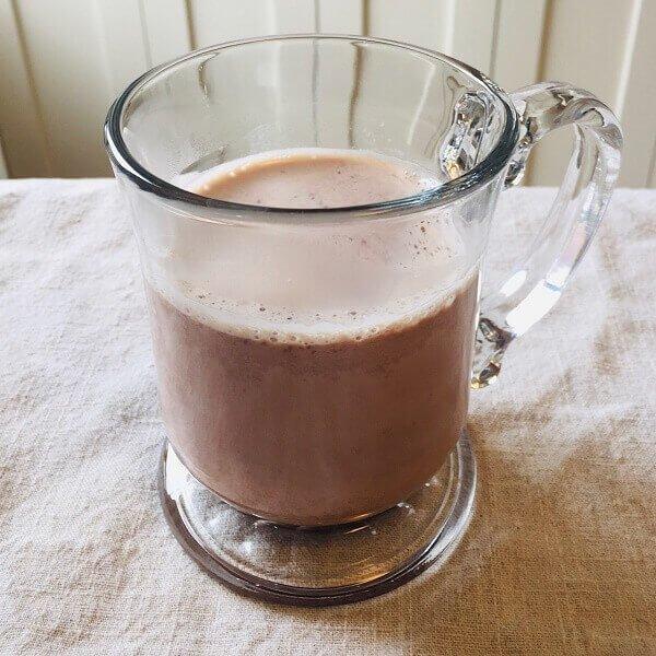 Hot chocolate in a mug.