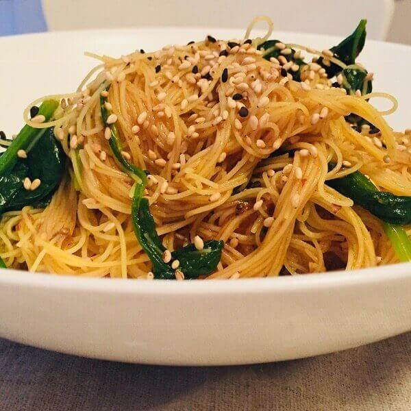 Noodles in a bowl.