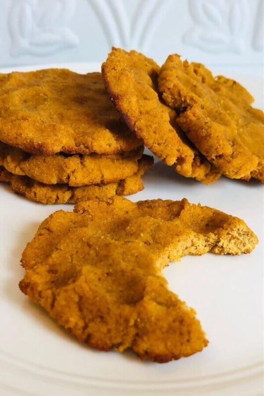 Pumpkin cookies on a plate.