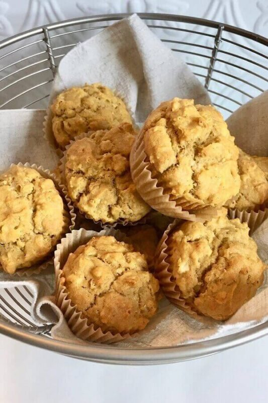 Savory muffins in a basket.