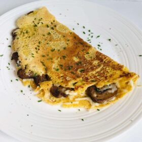 An omelette on a plate.
