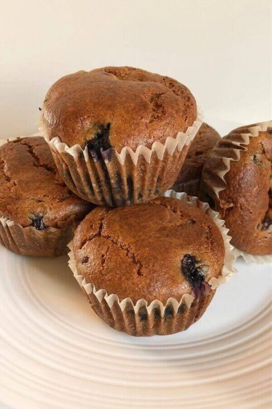 Several muffins on a plate.