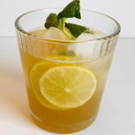 A glass of homemade ginger ale.
