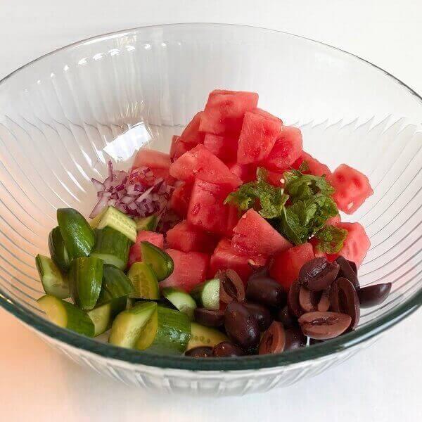 Salad ingredients in a bowl.