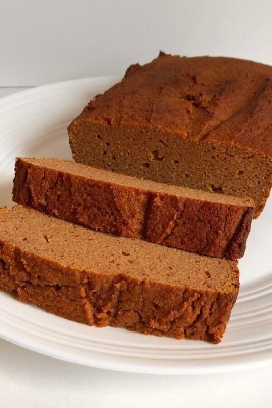 Pumpkin loaf displayed on a white plate.